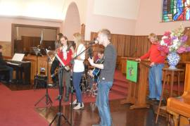 The Evening service encourages the youth band to play